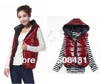 2013 Newest Women Vest Winter Autumn Thick Fashion Hooded Vest  Shiny Vest Casual Waistcoat 4colors free shipping