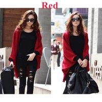 New Stylish Women's Batwing Cape Poncho Cardigan Sweater Knit Tops Shawl Coat Red,Free Shipping