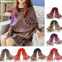 2014 New Warm Silk Scarf For Women Bohemia Style Pendant Scarfs Fashion Winter Autumn Pashmina Scarves Shawl, Large Size 80682