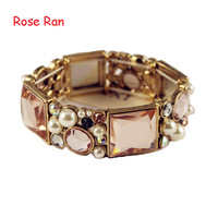 Mini Order $15,Fashion Beautiful Pearl And Zircon Crystal Bracelet Adjustable Elastics Rhinestone Bangles