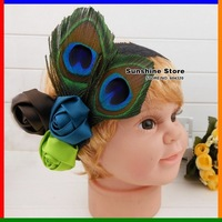 Sunshine store #2B2220  retail 1 pcs baby headband children peacock/peafowl  feather headband with rose flowers free CPAM