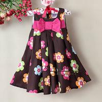 New Year Baby Girl Dresses Flower Printed Kids Dress Wholesale Children's Clothing (6Pcs /Lot) 121008-39