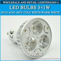 5pcs/lot GU10 3W High power led Bulb Lamp Warm White/Cold white AC85-265V Free shipping
