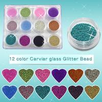 Free Shipping New 12 Colors Caviar Nails Nail ART DIY Colorful Carving glass small Bead Nail Decoration