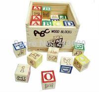 Letter Abc blocks box educational development toy wooden toys building blocks chiristmas gift 1pcs