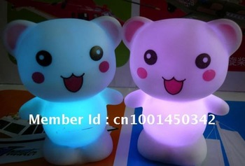 Free Shipping  Christmas Gifts Colorful Bear LED Night Light Cute 7 Color Changing Baby Kid Mood Desk Night Lamps 10pcs