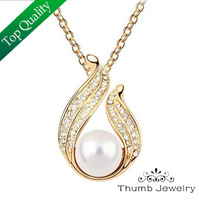 JS N006 Pearl Necklace Nickel Free Fashion Jewelry Colares Femininos CZ Diamond Austrian Crystal Pendant Necklace Gold Chain