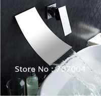 New arrivals waterfall wall mount single handle basin faucet mixer tap bathroom sink cocealed installation chrome finish RZ-304