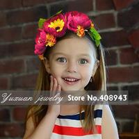 Free shipping fashion flower headband hairbands Artificial garland Flowers wreath For Baby Girl Children Hair Accessories XN-296