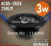 Black shell color 3W Cold/warm White ceiling light / downlight AC110v~265V Free shipping DHL spot lamp