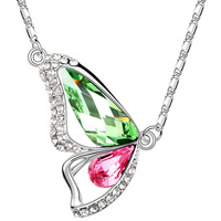 JS N020 Butterfly Wings Necklace White Gold Plated Schmuck Insect Pendant Necklace Boxing Day Gifts 2014 Necklaces & Pendants