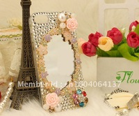 Fashion elegant mobile phone case covers for iphone 5 5G,lipstick perfume bottle comb mirror ,bling rhinestone pearl flower