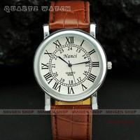 Hot sale Silver Case Fashion Roman Numerals Dial Black Brown Leather Band Classical Men Business Casual Quartz watch