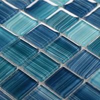 Glass Mosaic Ktchen Backsplash Tile Bathroom Wall Floor Blue Tiles Mesh Chips Square Crystal Glass Discount Shower Design Tile