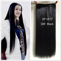 "30"" Super long hair 5 clip in hair extensions straight brownish black hair 75cm*24cm one piece for full head Christmas gift sale"