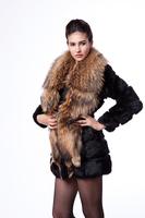 Faux female 2014 large raccoon fur rabbit fur slim medium-long outerwear fur coat winter warm long coat jacket clothes wholesale