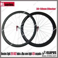 carbon 38mm clincher front+50mm clincher rear wheels, racing road bike wheel Road bicycel carbon wheel