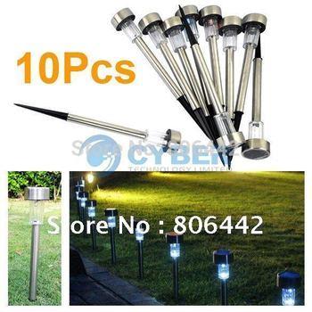 10Pcs/Lot Stainless Solar Garden Light Outdoor Solar Landscape Light Lamp Lawn Free Shipping 3969