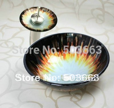 Victory Hand Paint Vessel Washbasin Tempered Glass Basin & Brass Faucet Set(China (Mainland))