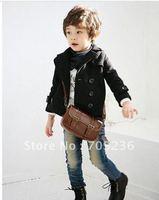 Retail-children's wear, new black double-breasted children suit coat, baby boy suit jacket