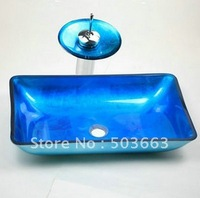 Popular  Hand Paint Vessel  Bathroom Glass Basin & Brass  Water   Faucet  Set