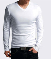 2014 New spring high-elastic lycra Top/ cotton men's Long sleeve v neck tight t shirt Mens casual slim t-shirt 8 Colors C127