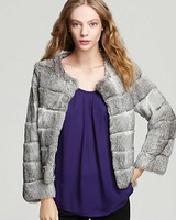 #2001 Genuine Rabbit Fur Long Sleeve Jacket, Women's, Grey&Black, Retail/Wholesale/Drop Shipping/OEM/ODM