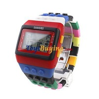 100pcs/lot rainbow Block Brick Style Wrist Watch with LED Night Light Building block fashion watch +Fedex/EMS Free shipping
