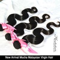 """ Mocha "" 100% human hair 10""-30""  Body wave Malaysian Virgin Hair ,Wavy Hair Extensions Natural Color Can Be Dyed"