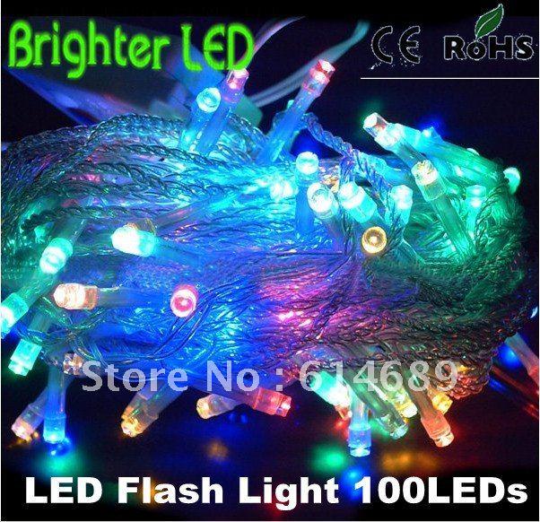 Free Shipping 8pcs/Lot Xmas LED Strip Light 10M 100leds 8 Mode Control 110V/220V(China (Mainland))