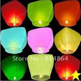 Factory price Sky Lanterns 8colors 30pcs/lot, Wishing lights, lanterns, wedding, Halloween, Christmas, birthdays,Free shipping