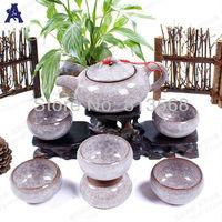 SIX colors available!!! 7 pcs Crackle Glaze tea set, 1 teapot +6 cups glazed porcelain teaset