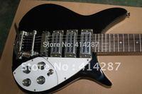 free shipping Custom rick  en 6 tring 3 pickup black color electric guitar with big tremolo