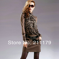 1pcs 8388  autumn lace shirt halter-neck slim hip lace leopard print one-piece dress