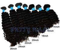 """Wholesale 2pcs/lot, Brazilian Virgin Remy Hair Deep Wave Weft Extensions Natural Color 14""""-26"""",7788"""