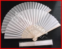 100pcs/lot free shipping white silk fan for wedding