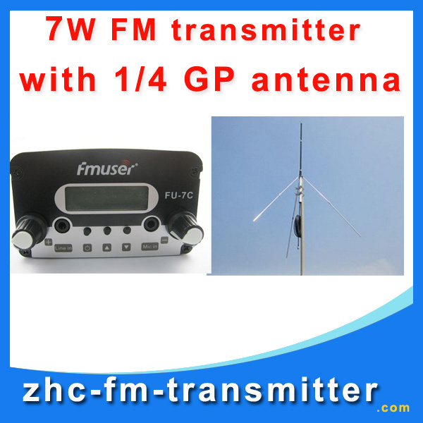 CZH 7w broadcast FM radio with fm transmitter+GP fm broadcast antenna +Power supply A kit FREE Shipping(China (Mainland))