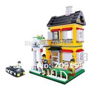 Christmas gift Enlighten Child 31052 DIY educational toys WANGE Villa House 390 PCS Assembles Particles Block Toys Free Shipping