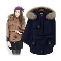 2014 women's winter raccoon fur poncho wool cape cloak female winter wool short jacket 2014/freeshipping