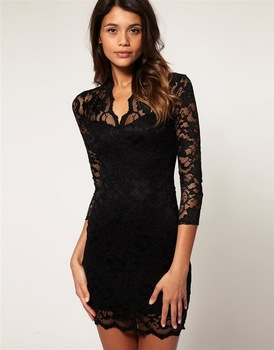 Free Shipping Sexy V-Neck Slim Middle Sleeve Vintage Dresses Drand Lace Dress FWO10068