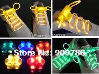 2th LED Shoelace 100pcs/lot (50paris) promotion Flashing light up glowing shoelace Blister packing free shipping