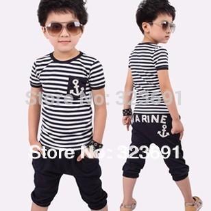retail Hot selling Kids clothes stripe set Skirts+T Shirts Cartoon clothing free shipping(China (Mainland))