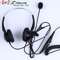 Best shipping Professional Binaural call center telephones headset direct with RJ09 /RJ11 , earphone (2 pcs / lot) PTXV202T