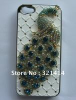 Free USPS/SINGPOST bling bling diamond rehinestone peacock chorme plated case cover for iphone 5g with gift box
