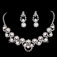 A0097 5sets/Lot Free Shipping Wedding Jewelry Set Brass Silver Crystal Rhineston Lady' Costume Pearl Fashion Party Supply