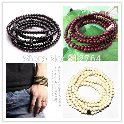 Wholesale 10pcs/lot 216*4 5 6mm Buddhism Sandalwood Beads Bracelets Cheap Tibetan Buddhist Prayer Beads Buddha Mala Lovers' Gift(China (Mainland))