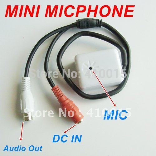 Audio pick up AUDIO CCTV tiny MICROPHONE MIC FOR SECURITY DVR CAMERAS 12V power regulator built-in box(China (Mainland))