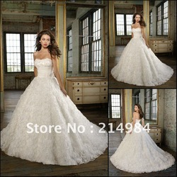 Top Grade Ball Gown Strapless Stereoscopic Lace Flower Designer Wedding Dress Bridal Dresses 2013 New Fashion(China (Mainland))