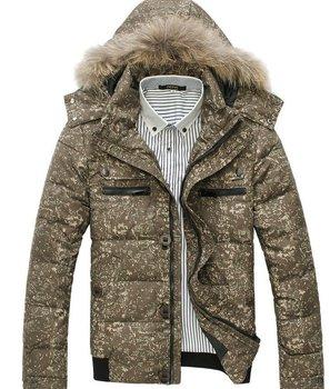 Fur Collar Men's Brand winter overcoat, Camouflage Outwear, Winter jacket, 3 colors, M-XXXL, Big Size wholesale