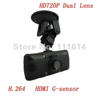 Free Shipping+Dual Lens Car DVR , Car DVR Recorder L3000 with Separate Camera + HD 720P + G-Sensor + 4 IR LED + H.264 + HDMI